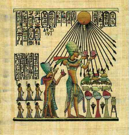 Akhenaton, facing right, under the rays of Aton the sun disk, holding the fruits of the harvest